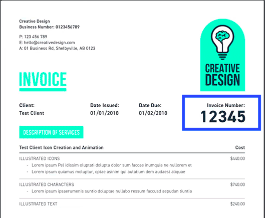 Example of an Invoice number on an invoice made with MoneyPenny invoice Creator