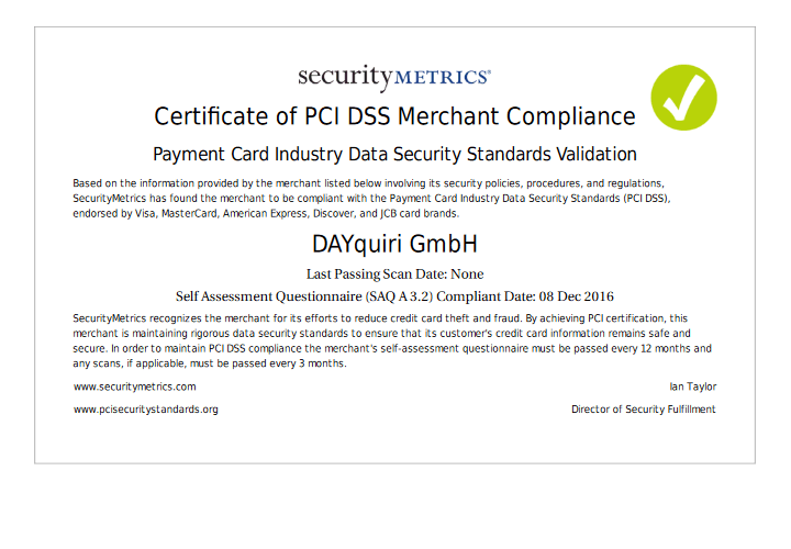 PCI DSS Merchant Compliance Certificate