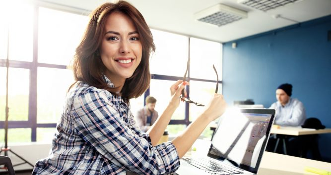 Business woman working with billing software