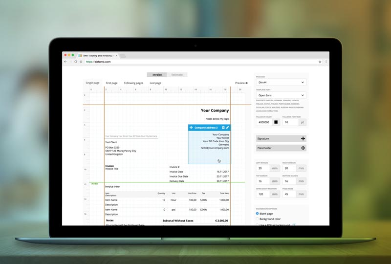 Online invoices generated by zistemo Software