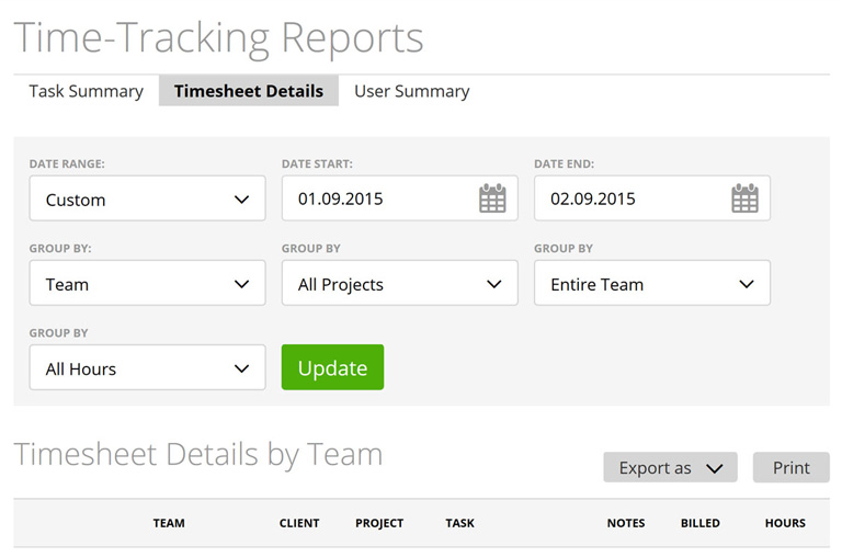 Instant time-tracking report