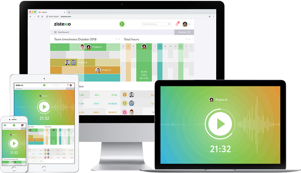 Zistemo Time tracking software on different devices