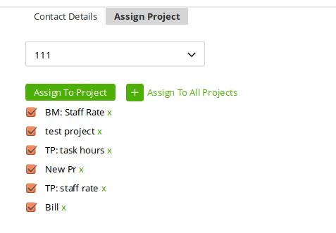 Assigned projects