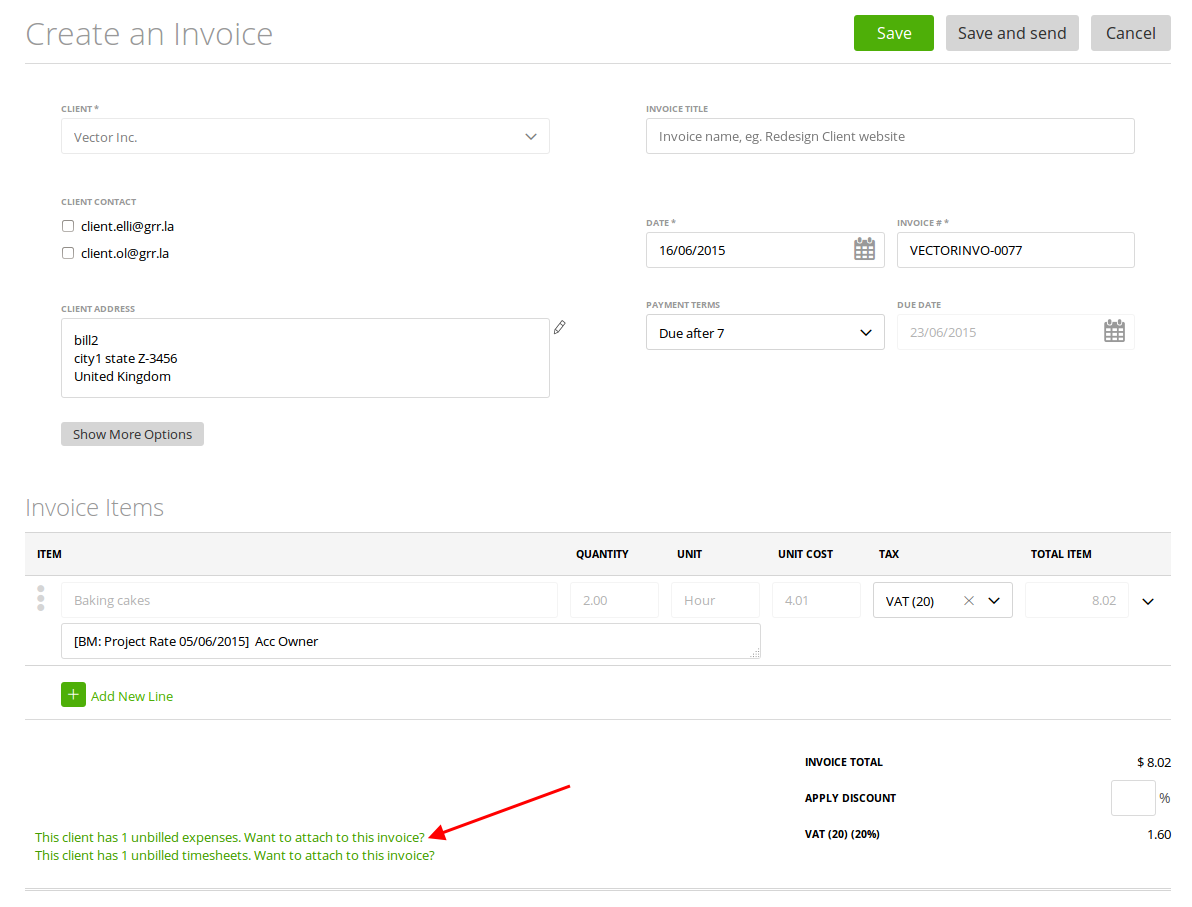 You will be able to attach these expenses to the invoice generated from this project