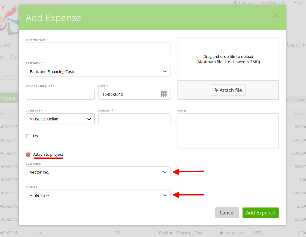 Attach expense to the client or project