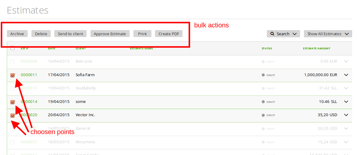 Bulk actions for estimates