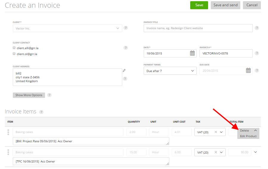 Generating a new invoice