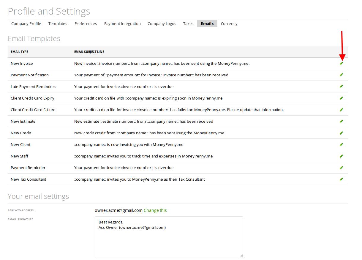 Default emails customization