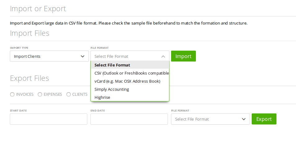 Import clients from a CSV or vCard