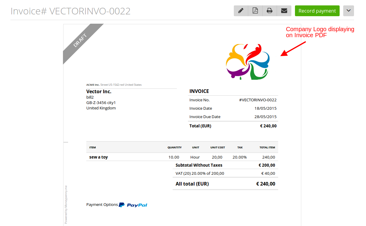 Your company logo will also be displayed at the top of your estimates and invoices.