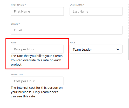 The billing rate for the team member