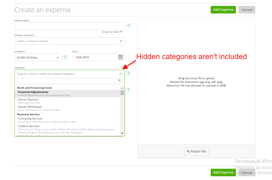 Ability to show hide expense categories 2
