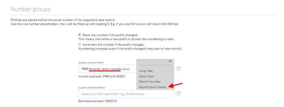 Customize invoice estimate number formats 3