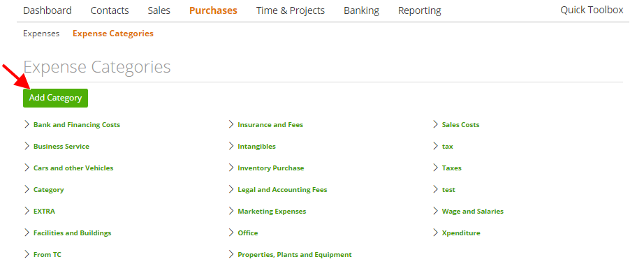 Create an expense category