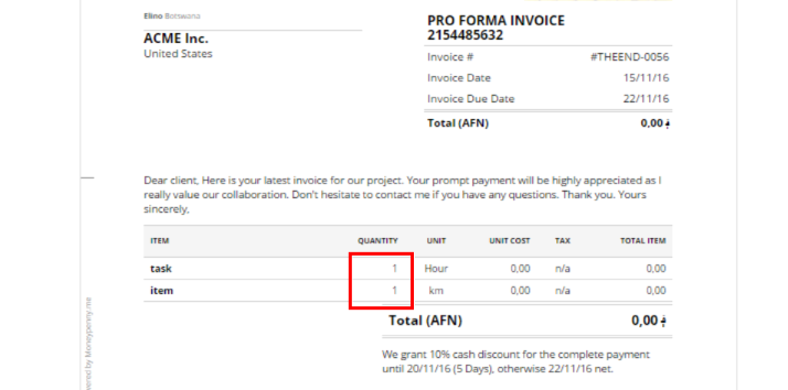 Quantity Unit Price Format On InvoicesEstimates MoneyPenny - Invoice to me