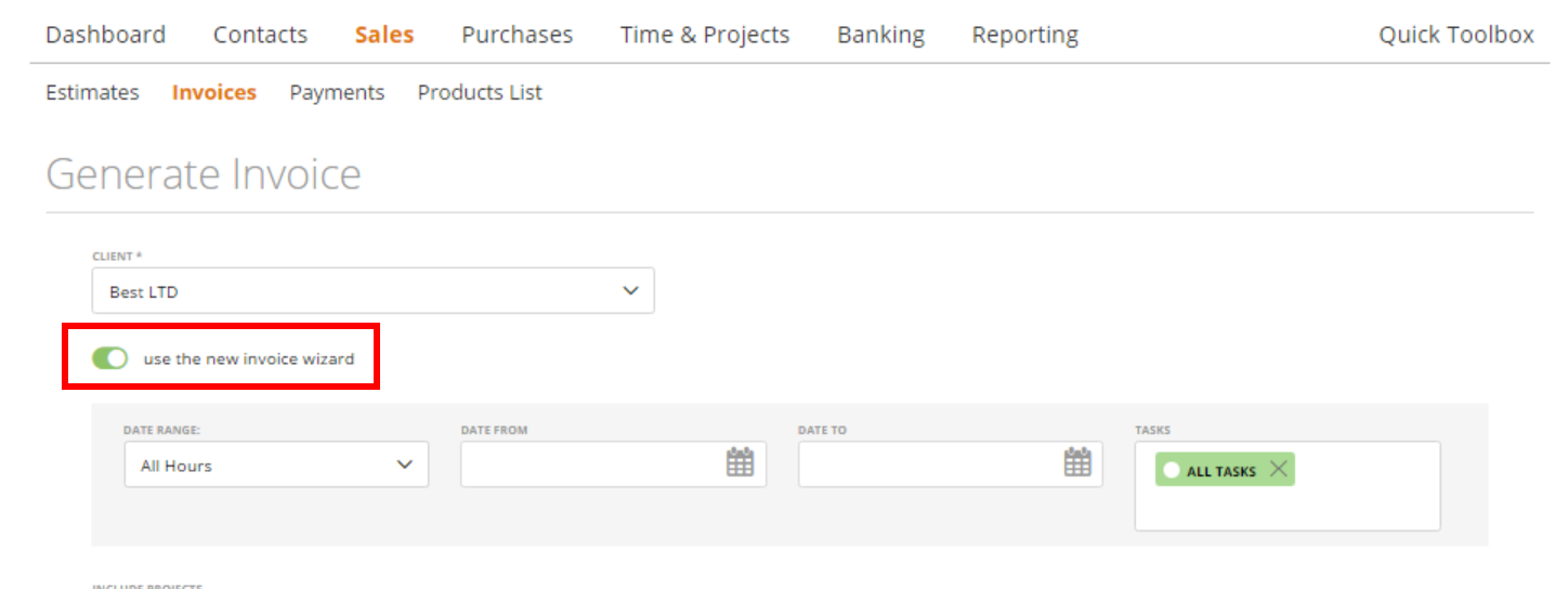 generate an invoice based on the expenses of the project the new invoice wizard