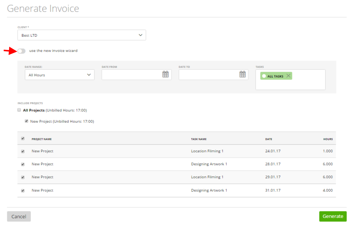 generate an invoice based on the expenses of the project now click on the green generate button and save your invoice