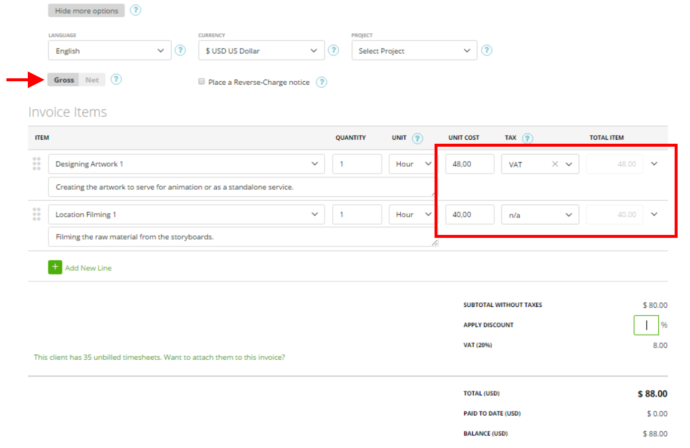 gross net prices on the invoice estimate moneypenny knowledge base