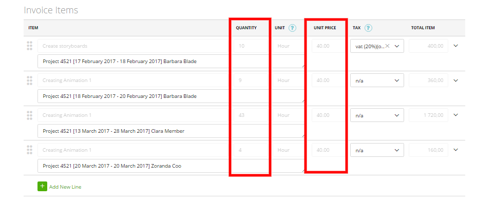 the ability to change hours on generated invoices