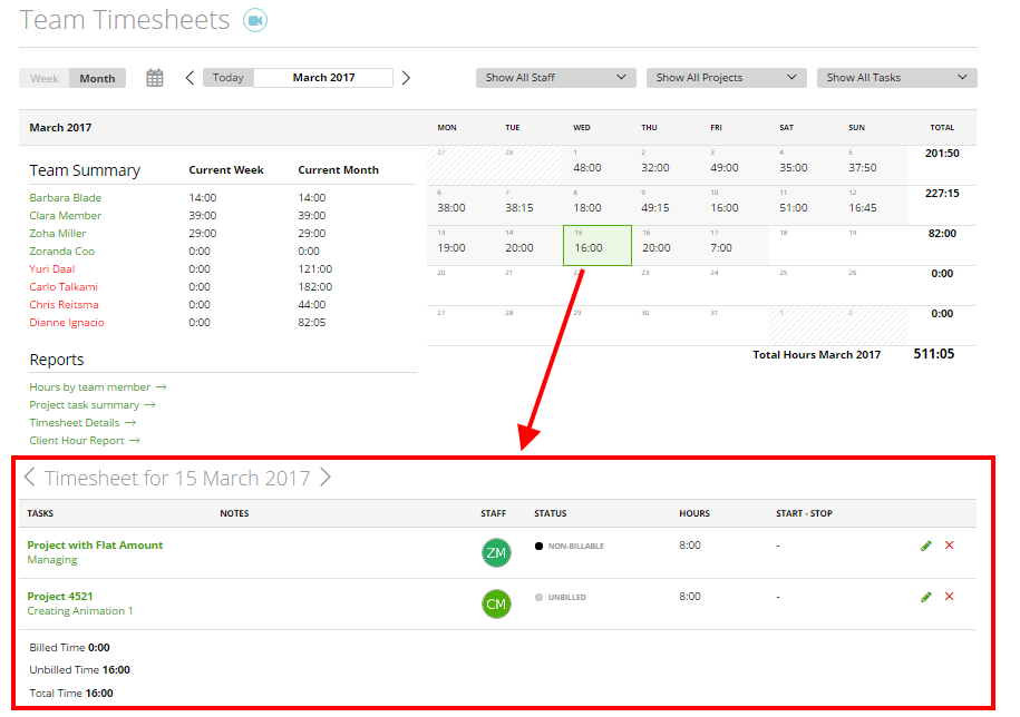 team timesheet monthly and weekly view moneypenny knowledge base