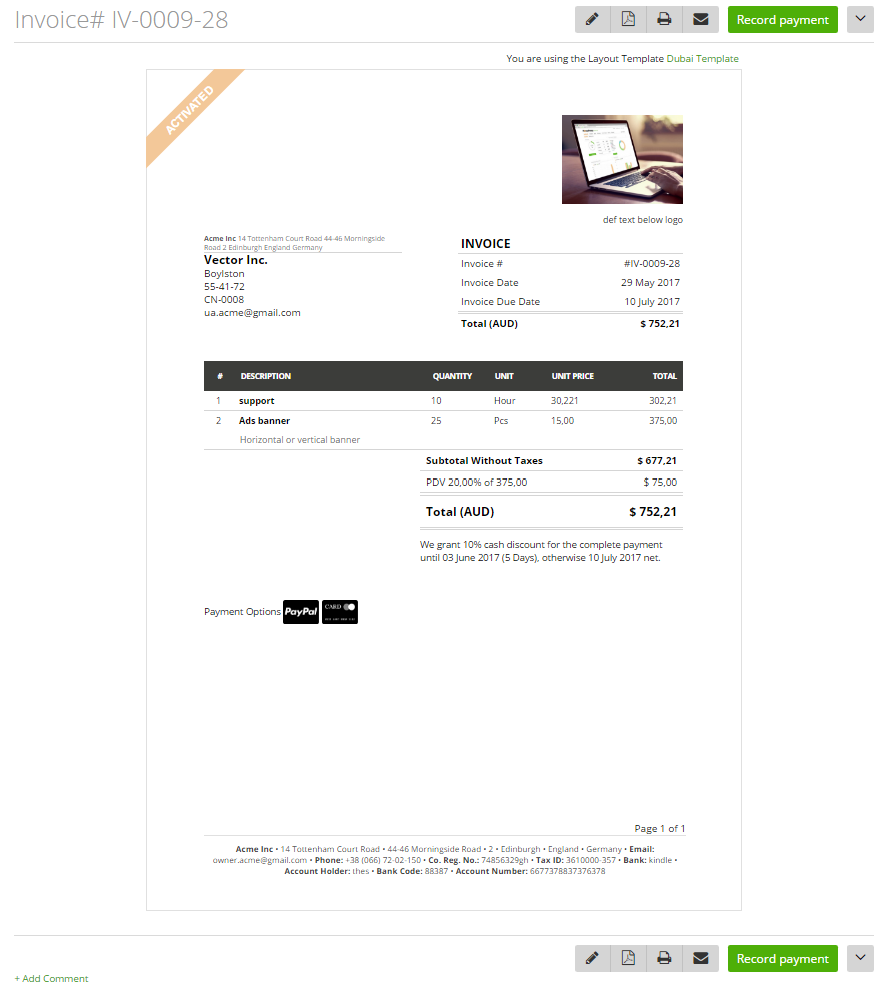 Create An Invoice In Excel Word Invoice Creationupdating  Moneypenny Knowledge Base Msrp Vs Invoice Price with Parts Invoice To Edit An Invoice Click On The Pencil Icon On The Invoice Preview Or Open  The Edit Link From The Row End Menu On The Grid Sample Of A Invoice