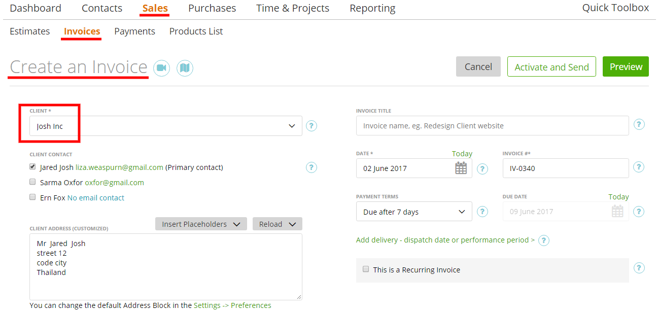 invoicing the client moneypenny knowledge base