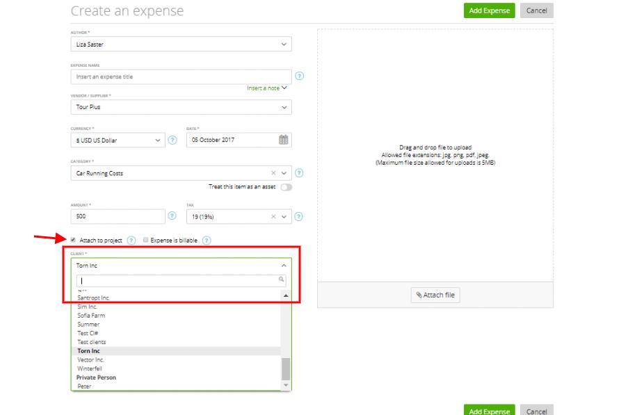 invoice expenses