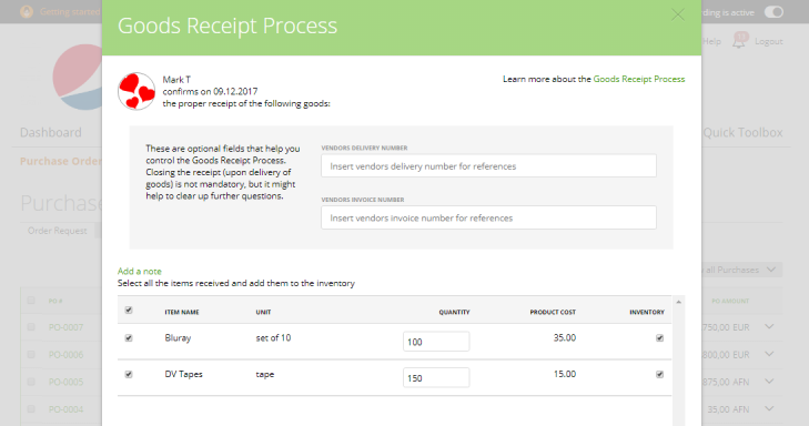 Purchase Order Goods Receipt Process MoneyPenny Knowledge Base - Goods invoice