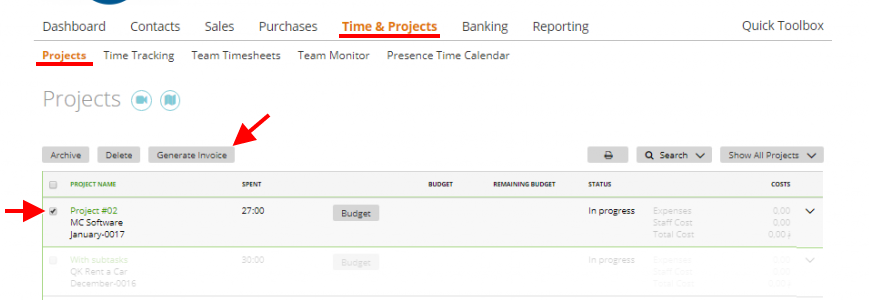 generate invoice on a project invoice wizard moneypenny