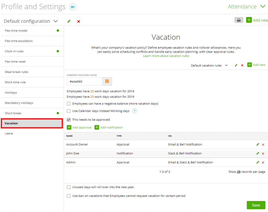 attendance vacation moneypenny knowledge base