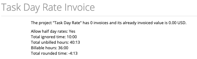 task day rate invoice header