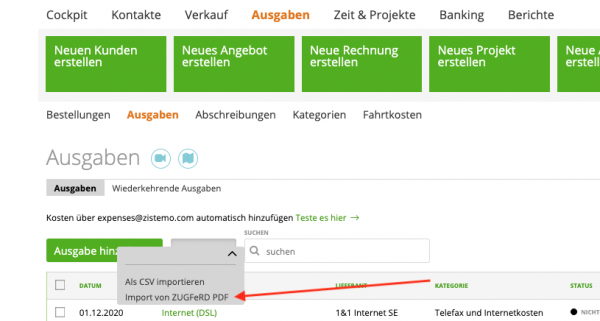 ZUGFeRD-PDF importieren